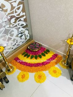 Corner flower rangoli design for Diwali festival Rangoli Designs - India Rangoli Designs Flower, Colorful Rangoli Designs, Rangoli Ideas, Rangoli Designs Diwali, Rangoli Designs Images, Flower Rangoli, Rangoli With Flowers, Diwali Decorations At Home, Festival Decorations