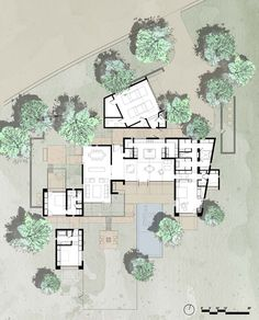 """The plan uses out door spaces and covered walkways to allow the user the most interaction with nature. Can use lots of class walls and """"ceilings"""" to achieve same effect in a harsher climate. Lake Flato Floor Plan"""