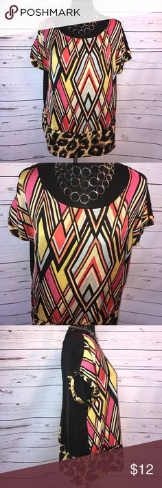 "Nicole Miller blouse Size L Cute multicolored/animal print light weight blouse 👚 by Nicole Miller Size L chest measures 22"" and is 26"" long. ❤️🦋😊🐾 Nicole by Nicole Miller Tops Blouses"