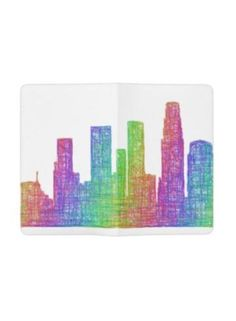 Los Angeles skyline Pocket Moleskine Notebook Cover With Notebook $27.60 *** Los Angeles city skyline silhouette - multicolor line art - notebook cover