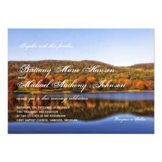 Check out this product on Zazzle: Fall Autumn Trees Lake Country Wedding Invitations Wedding Invitations Online, Country Wedding Invitations, Invites, Wedding Cake Fresh Flowers, Country Wedding Cakes, Wedding Announcements, Autumn Trees, Nature Scenes, Landscape
