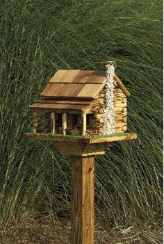 Amish Country Rustic Handmade Log Cabin Bird Feeder With Rock Chimney