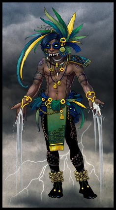 Tláloc- Aztec myth: a god of rain, fertility, and life. He was revered for being able to bring life by the rains. But also feared by being able to bring hail, lighting, and storms. He was the controller of the powerful element of water.