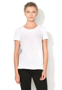 Tricou alb din amestec de modal - Sisley