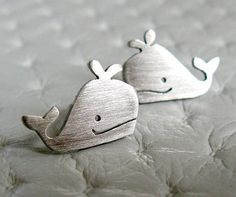 awesome Whale Stud Earrings - Whale Jewelry - Handmade Sterling Silver Jewelry...