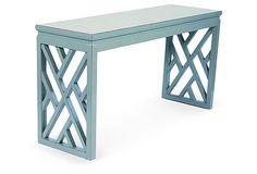 Nanette Console Table, Distressed Aqua  on OneKingsLane.com $699