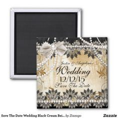 Save The Date Wedding Black Cream Beige Magnet Save The Date. Wedding Elegant Vintage, Beige Gold, Black Gray White Cream. Rustic Asian Bamboo Floral. Wedding Invitation. All Designs are Copyrighted! Content and Designs © 2000-2015 Zizzago™ ® © (Trademark) and it's licensors. Zizzago created this design PLEASE NOTE all flat images! They Do NOT have real Glitter, Diamonds Jewels or real Bows!!