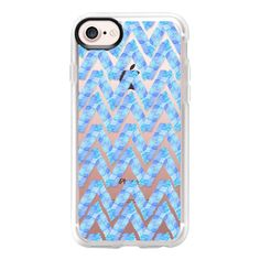 Abstract blue teal watercolor zigzag chevron pattern - iPhone 7 Case... (760 MXN) ❤ liked on Polyvore featuring accessories, tech accessories, iphone case, apple iphone case, chevron iphone case, clear iphone case, iphone cover case and teal iphone case