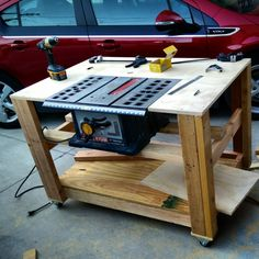 workbench DIY Finally worked on the workbenches I found on pinterest... 1 of 2 complete...1 more for the chop saw.