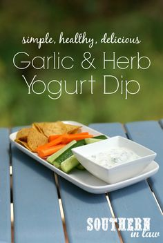 This healthy Garlic and Herb Yogurt Dip Recipe is perfect for entertaining and also gluten free, low fat, sugar free, clean eating friendly and absolutely delicious!