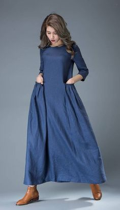Maxi Blue Linen Dress - Cobalt Long Spring Summer Handmade Casual Everyday Woman's Dress with Half Sleeves  C803 - Street Fashion