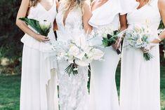 Modern Parker Palm Springs Wedding White Bridesmaid Dresses