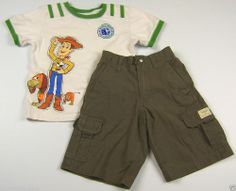 OshKosh Boys Cargo Shorts and Disney Woody Shirt Outfit Size 4T Everyday #OshKosh #Everyday
