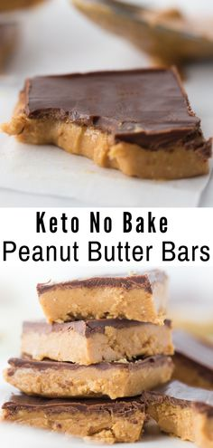 Peanut Butter meets creamy chocolate in these No Bake Keto Peanut Butter Chocolate Bars to create a mouthwatering delicious treat! #keto #lowcarb #ketorecipe