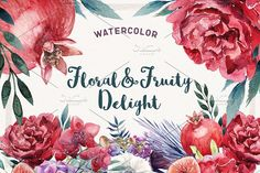 Watercolor Floral & Fruity Delight by Spasibenko Art on @creativemarket