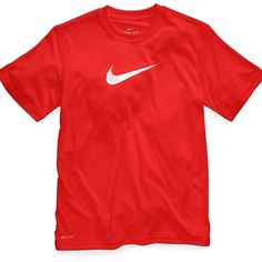 Nike Boys' Legend Dri-FIT Tee ($20) ❤ liked on Polyvore featuring tops, red shirts and shirts