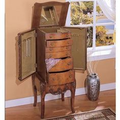 Distressed Whitewash Fabiana Jewelry Armoire Armoires Feminine