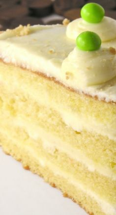 Key Lime Layer Cake ~ Moist cake layered with buttercream and tart key lime filling