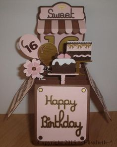 A NON stamping project this time. This is a box card I made last year for my niece's sweet 16. I enjoy making 3d projects & cards and making a box card is so easy and fun to do. The base card box is made from brown cardstock and I decorated the side panels and the back front panel with a pink cardstock layer. Made the awning using the SU window punch (I love this punch, but I never have used it as a