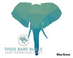 Elephant Head Silhouettes Printable Wall Art - These Bare Walls - Elephant Silhouettes