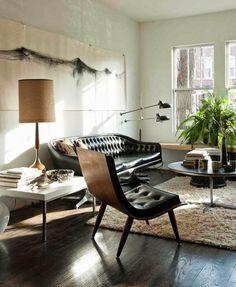 Living Space. Masculine. Leather. Decor. Interior Design. Modern. Man. Wood. Home.