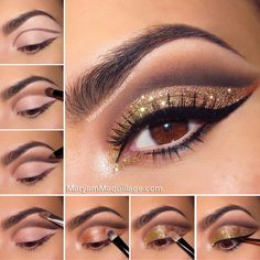 Stunning Eye Makeup for Your Next Party Tutorial Bronze and Gold smokey eye for Brown eyes - really love the extended glitter.xTutorial Bronze and Gold smokey eye for Brown eyes - really love the extended glitter. Sparkly Eyeshadow, Glitter Eyeshadow Palette, Glitter Eye Makeup, Colorful Eyeshadow, Glitter Eyeshadow Tutorial, Makeup Eyeshadow, Colorful Makeup, Glitter Hair, Makeup Cosmetics