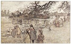 Peter Pan in Kensington Gardens by J. M. Barrie with drawings by Arthur Rackham, 1906