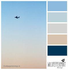 Farbpalette, kühl, leicht, frisch, blautöne,beige // © wildpeppermint-design.de