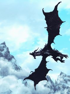 m Ancient Black Dragon flying mountains hills conifer forest wilderness Into the Unknown Fantasy Dragon, Dragon Art, Fantasy Art, Magic Creatures, Mythical Creatures, Fantasy Inspiration, Story Inspiration, Elder Scrolls V Skyrim, Cool Dragons
