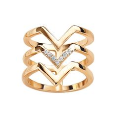 Geo Diva Ring | AVON Geometry lesson! This season's sculptural shapes and clean lines take you from contemporary classics to deco-inspired drama. Three row openwork geometric design ring with rhinestone accents.
