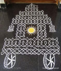 this is a special ther chikku kolam for ratha you all like this :) Indian Rangoli Designs, Rangoli Designs Flower, Rangoli Border Designs, Rangoli Designs Images, Rangoli Designs With Dots, Rangoli With Dots, Beautiful Rangoli Designs, Simple Rangoli, Henna Designs