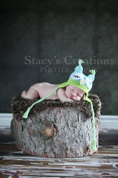 Crochet Newborn Baby Boy Owl Hat  Animal Infant Ear Flap Photo Prop Blue. $28.00, via Etsy.