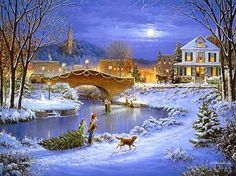 Old-Fashioned Winter Christmas Scenes