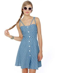 Judy Blue Eyes Chambray Polka Dot Dress - Lulus.com