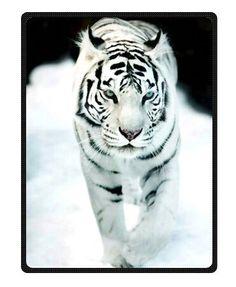 Bengal Tiger Blue Eyed Royal White Throw Blanket 58 x 80 Large