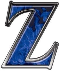 Reflective Letter Z with Inferno Blue Flames