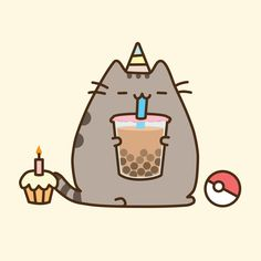 Birthday Pusheen, Emory ? on ArtStation at https://www.artstation.com/artwork/vBm2x