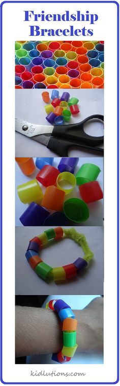 Pattern or counting bracelets: Need pipe cleaners and colorful straws. Twist the end of the pipe cleaner in a knot like ball so straw pieces don't fall off. Cut colorful straws into small pieces then students can put straw pieces on to the pipe cleaners.