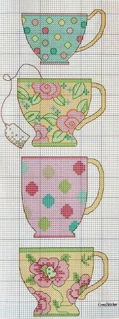 Embroidery Patterns Free Kitchen Tea Time New Ideas Cross Stitching, Cross Stitch Embroidery, Cross Stitch Bookmarks, Free Cross Stitch Patterns, Free Cross Stitch Charts, Cross Stitch Kitchen, Cross Stitch Needles, Crochet Cross, Embroidery Patterns Free