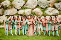 Mint and coral theme. Indian Bridal Party, Indian Wedding Bride, Big Fat Indian Wedding, Punjabi Wedding, Desi Wedding, Wedding Looks, Wedding Suits, Wedding Dresses, Indian Bridesmaid Dresses