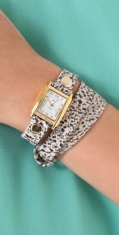 Paris Rain Print Wrap Watch