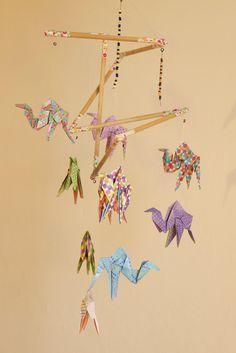 Origami crane hanging mobile ready to ship sophies big girl mobile bb origami suspension en bois chambre enfant bb animaux dromadaire babyshower multicouleur de la boutique ccuart Gallery