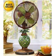 Pineapple Table Fan Lamp Light Glass Mosaic Vintage Fans Decor Desk Indoor Room #TableFan#LampLight#DecorFan#TableLamp