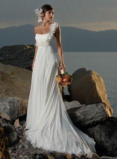 Chiffon Sheath Brush Train Sleeveless One Shoulder White Wedding Dresses Bwd0104