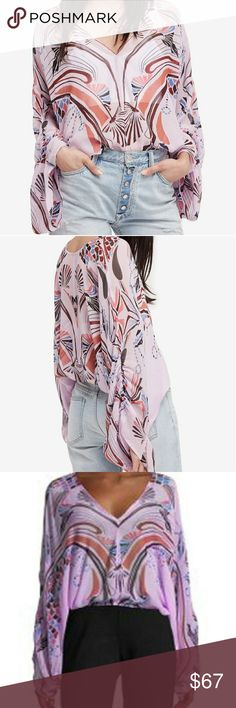 Free People NWT Beneath The Sea Top Printed with shell-inspired swirls, this lovely semi-sheer chiffon blouse features a deep V neckline and billowy angel sleeves with a bit of ruching. Easy pullover style with elastic at the waist.  100% viscose,  machine washable. Sold out at FP and sells full price at other online retailers.  Size small, color is lilac. Available in other sizes and colors,  please see my closet. Free People Tops