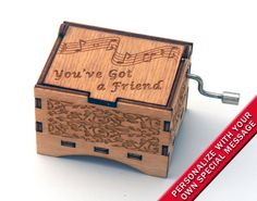 "Music Box ""You've Got a Friend"" by Carol King Laser Engraved Wooden Interlocking Hand Crank Music Box"
