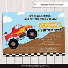 Monster truck birthday party invitation / monster truck invite / boy invitation / Digital printabe invitation /  5x7 birthday invitation