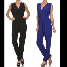 "LARGE BUSTSSexy Plunge Back Jumpsuit Price is for one jumpsuit in one color. Faux wrap front. V-'d open back. Slimming effect. Accommodates the large busted. Inseam, 31"". Polyester/spandex blend. Made in U.S.A.. Brand new retail w/o tags. No trades, no holding, no offline/App transactions.      PRICE IS FIRM UNLESS BUNDLED                  5% off bundles  Pants Jumpsuits & Rompers"