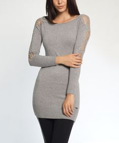 Look at this #zulilyfind! Gray Cutout-Sleeve Zip-Back Sweater Dress #zulilyfinds