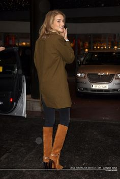 Rosie Huntington-Whiteley is seen arriving at Capital Radio London on January 28,2015 for promotes Rosie For Autograph Flagrance. She is wearing Emilio Pucci 110mm Suede Boots with Plexiglass Heel, Neil Barrett Belted wool-blend coat and Paige Denim Verdugo in Moscow Jeans. Love this dark color collection. http://sophiebirkhoff.blogspot.com/2015/01/rosie-huntington-whiteley-at-capital_29.html